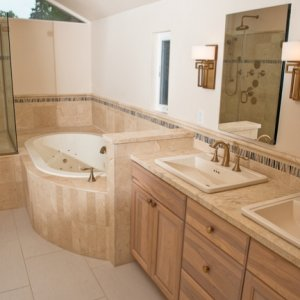 This was a full master bathroom reconfiguration and remodel.
