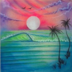 Airbrush Beach Scene wall mural 12 18
