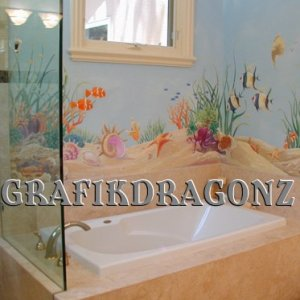 bathroom fish mural