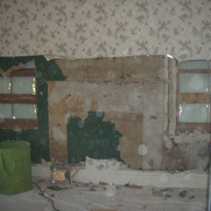 2011 Guestroom false wall - we could tell from outside that someone drywalled over TWO windows!