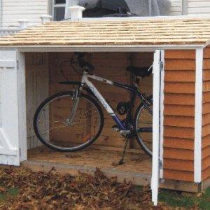 bike shed front doors open