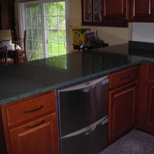 Countertops installed! [Peninsula] - Only part of the project we had professionally installed.  We also have the Fisher & Paykel double dish drawers...