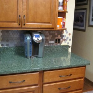 "Love it! Installed stainless steel hexagon backsplash and did a ""waterfall effect"" at the edge of the counter [fridge wall]    ( Product:..."