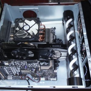 Top case of my old dual HTPC audiophile mod [computer]  (Its hard to tell, but I redid this entire case to center the motherboard.  I was planning to...