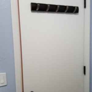 2018 redecorating project - Upstairs bathroom door I painted (other side is stained)