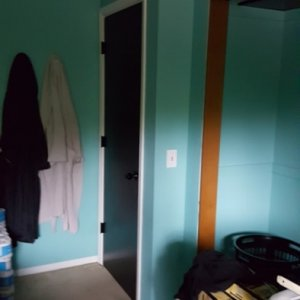 """2018 redecorating project - Master bedroom door I painted (other side is stained)  I did this in black to balance out the 70"""" flat screen my husband..."""