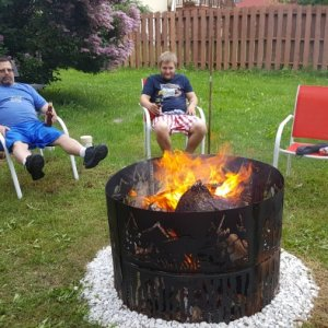 Double decker fire ring my husband and I made.  We bought two fire rings from Cabella's then cut support bars to hold the two rings together so we...