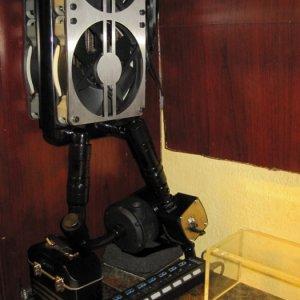 GPU radiator, backup pump, & aquaero flow meter on the inside of the hutch