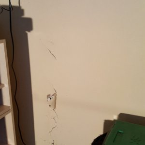 Here's the damage done to the bottom half of the drywall - the top had a crack in it too, but not this bad.