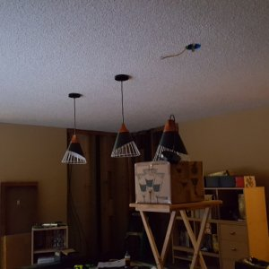 New lights!  We've got two for general lighting and 3 for the pool table.  The new switch(s) for them will be in the column on the far wall...