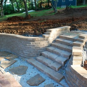 Backyard 3 Wall built and pavers thrown down