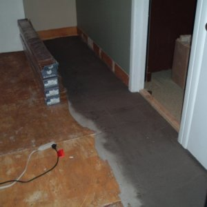 Self levelling cement under the laminate.