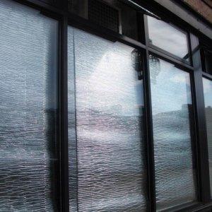 window AC in transom window - outside view