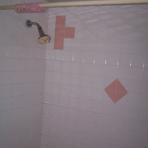 two handle shower and tile