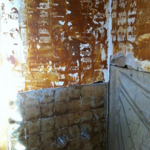 shower wall after tile removed
