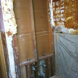 shower plumbing after wall removed