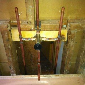 New copper shower valve