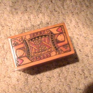 Wooden Queen of Hearts poker deck case.