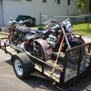 Loaded and ready to go to a Shovelhead gathering in Tennessee.  In the foreground is my vintage Harley Shovelhead with the touring Honda Valkyrie...