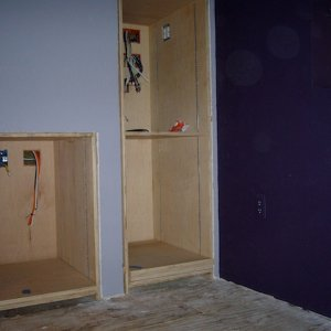 Cabinets installed, but not finished.