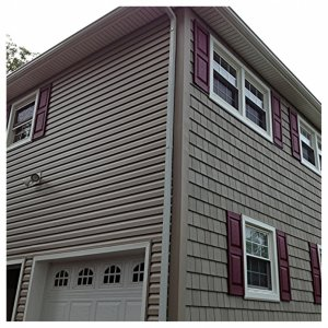 After! New Siding, New Window Capping and Shutters