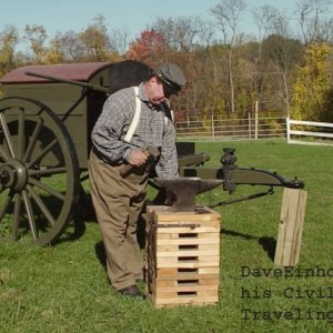 Myself at mid-1800s U.S. Civil War era army Traveling Forge that I built.