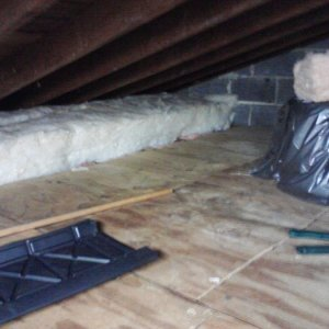 Previous homeowner had floor down for storage, I used it as well. Since wood isn't a good insulator I'm adding R-30 on top of the floor, there is...