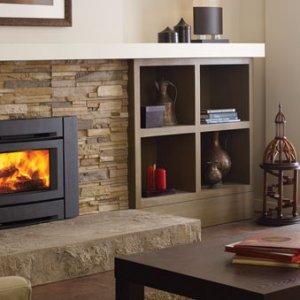Wood-burning insert with ledgestone