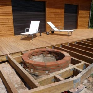 first part of the ipe decking installed