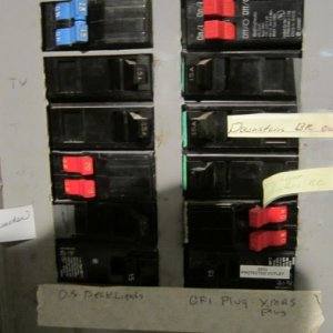 Main Panel, notice the double breakers, I don't think this panel was intended to receive them.