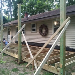 Front porch going up.