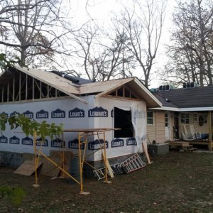 New roof over new addition and new porch