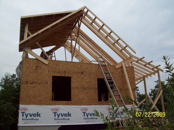 2nd floor framing is started.