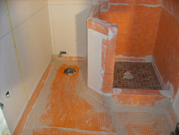4) WATERPROOFING! Kerdi walls, Ditra floors.