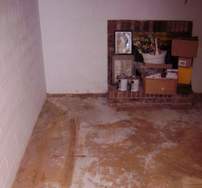 basement sump location; water begins coming in at wall & around bottom of fireplace.