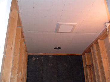 "Ceiling rocked with DensArmor Plus, paperless drywall system. Panasonic, Energy Star rated ventilation fan. Ceiling also insulated with 16"" of cellulose."