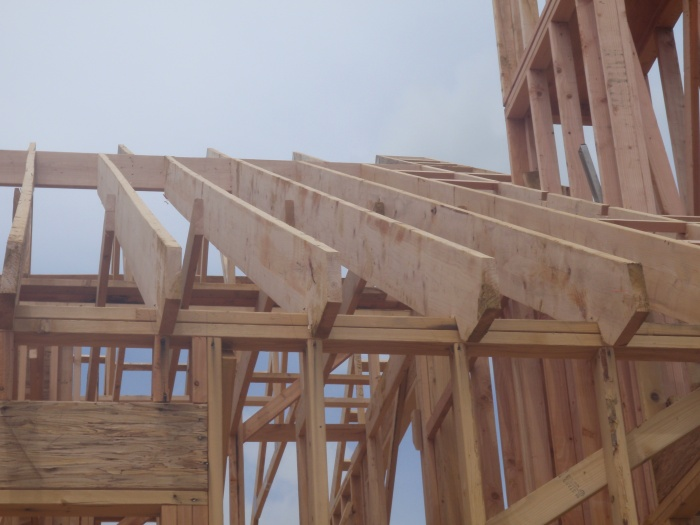 Dimensional Lumber over two car garage, Truss construction elsewhere