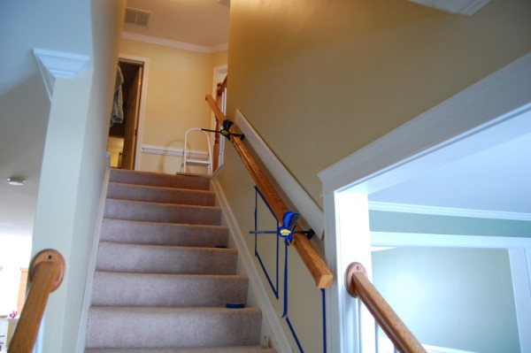 Installing Chair Rail Up Staircase Carpentry Diy