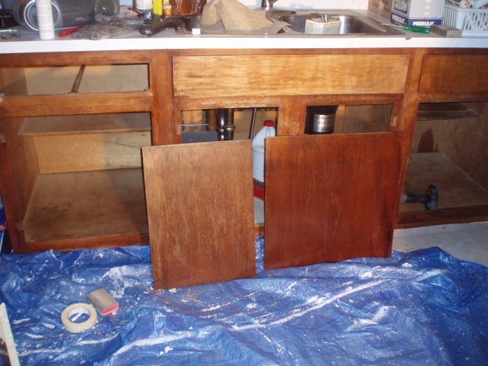 here is the bottom cabinets I have all sanded and ready to stain (some are not finished in this pic)