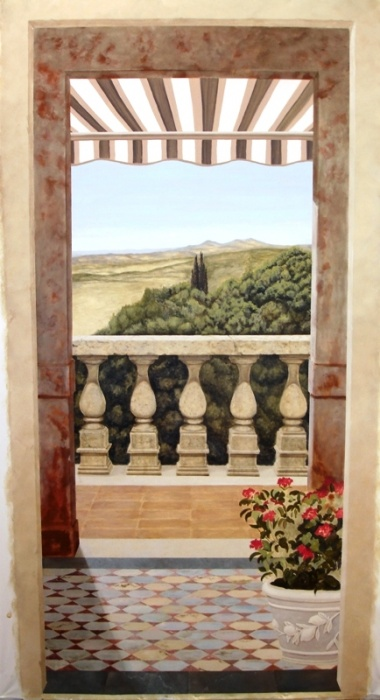 I love painting murals and trompe loeil as you can see here. this is a 4x8 mural on cambric cloth of an Italian landscape with architectual features go to http://www.art-faux.com and sign up for my newsletter