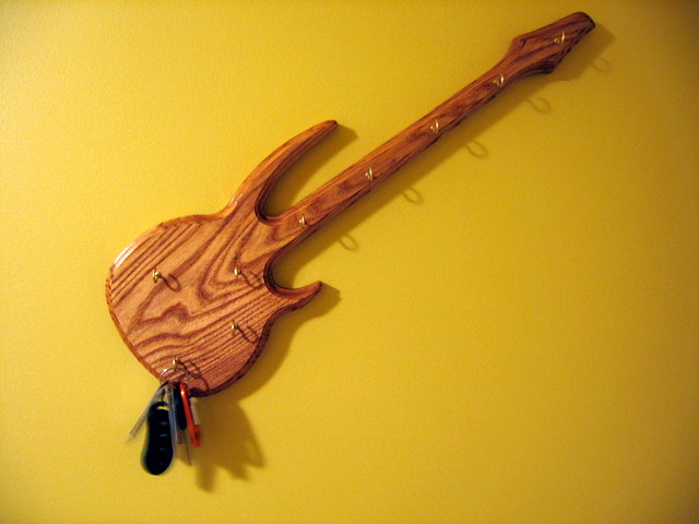 Keyholder made out of ash. Shape matches my Carvin bass guitar.