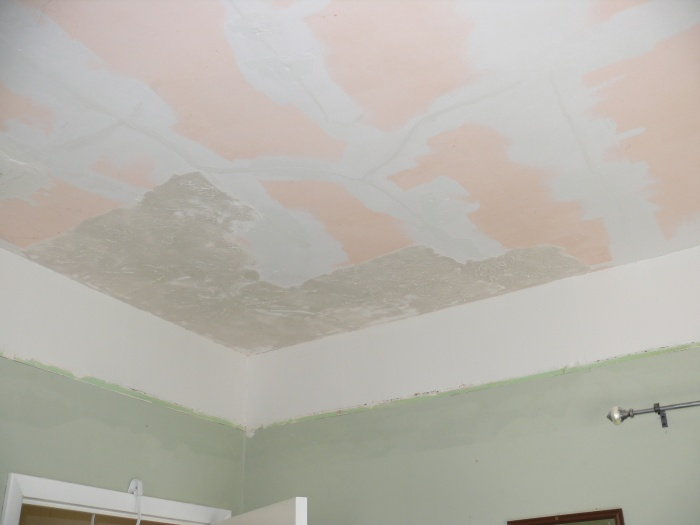 lots of crack/hole patching, used acrylic caulk on smaller cracks, 2 coats stain-blocking primer, just started texturing ceiling here.