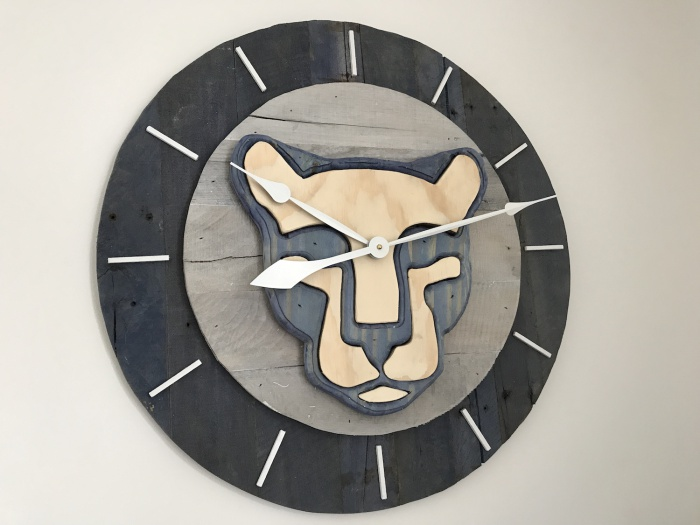 Nittany Lion Clock: 2 feet in diameter, made from pallet wood, pine, and plywood.
