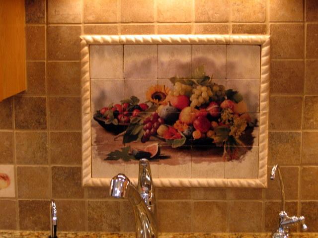 Painted tile centerpiece.