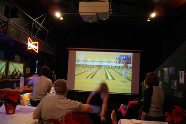 Playing wii bowling on the big screen