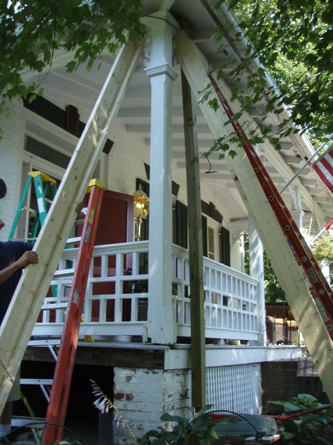 My Contractor Used The Dimensional Lumber As Temp Supports 4x4 And Jack That He To Raise Porch Is Shown In Pic Too