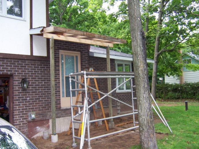 Posts, beam, and fascia board.