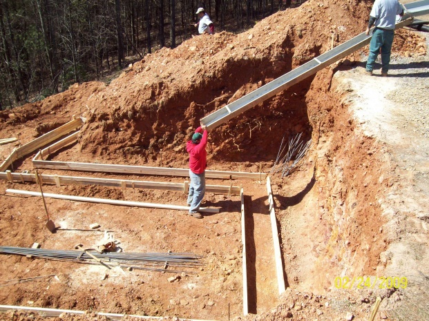 Pouring the footings.