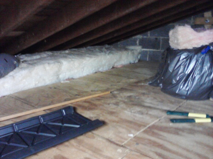 Previous homeowner had floor down for storage, I used it as well. Since wood isn't a good insulator I'm adding R-30 on top of the floor, there is R-19 currently in the rafter bays.