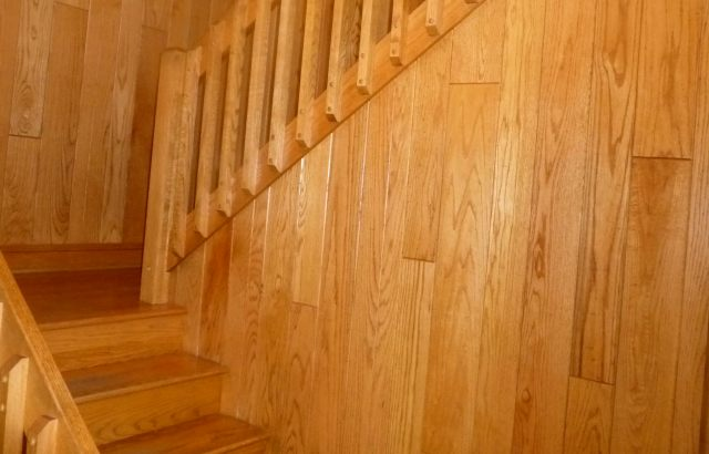 Red Oak Paneling and Stairs - by Historic Flooring